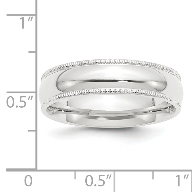 Milgrain Comfort Fit Wedding Ring In Platinum 6mm: Platinum 6mm Comfort Fit Milgrain Size 11 Wedding Ring