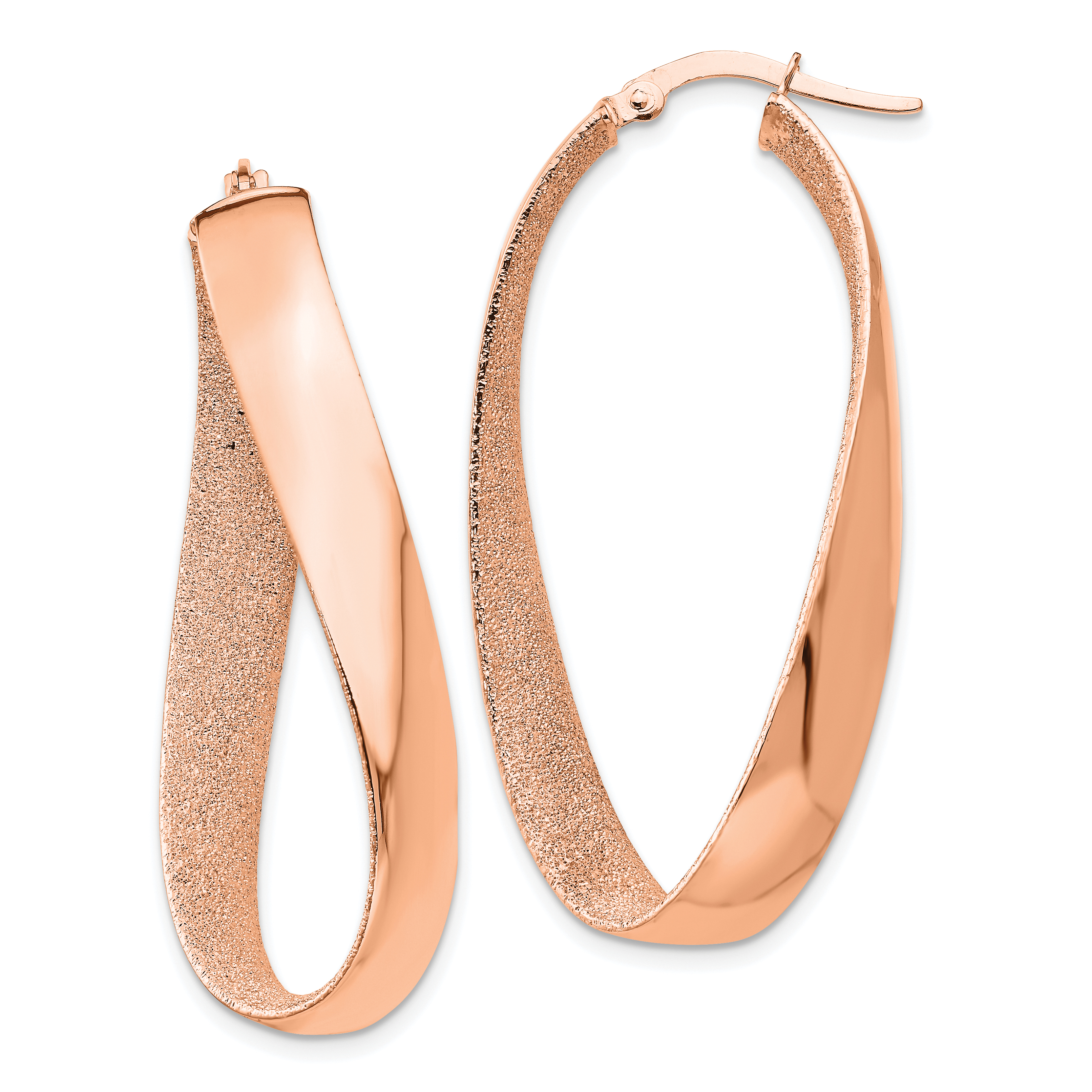 d3313ab3785a4 Details about 14k Rose Gold Plated Twisted Hoop Earrings Ear Hoops Set Oval  Fine Jewelry