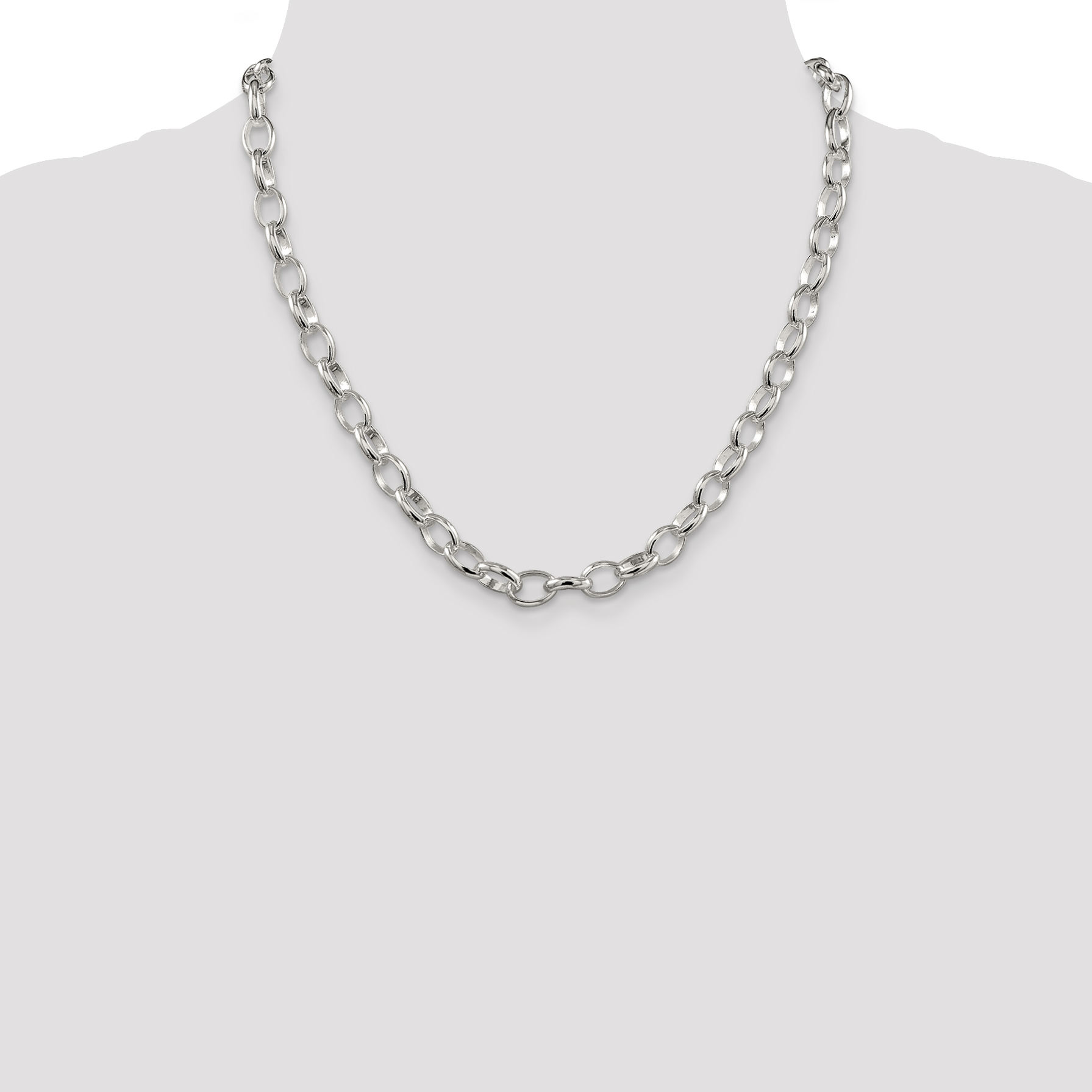 925 Sterling Silver 4.55mm Rolo Chain Necklace 24 Inch Pendant Charm Fancy Fine