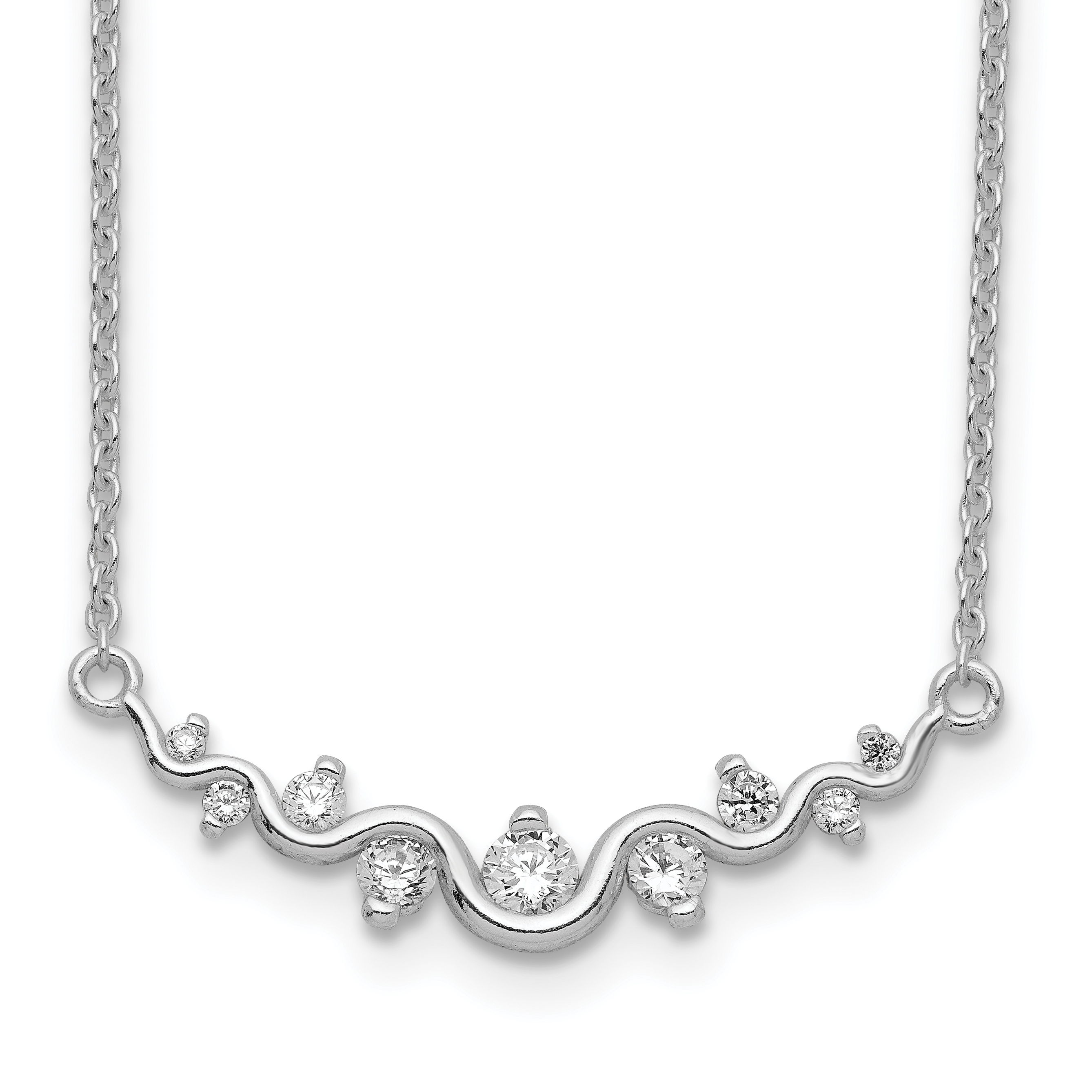 925 Sterling Silver Wave Cubic Zirconia Cz Bar Chain