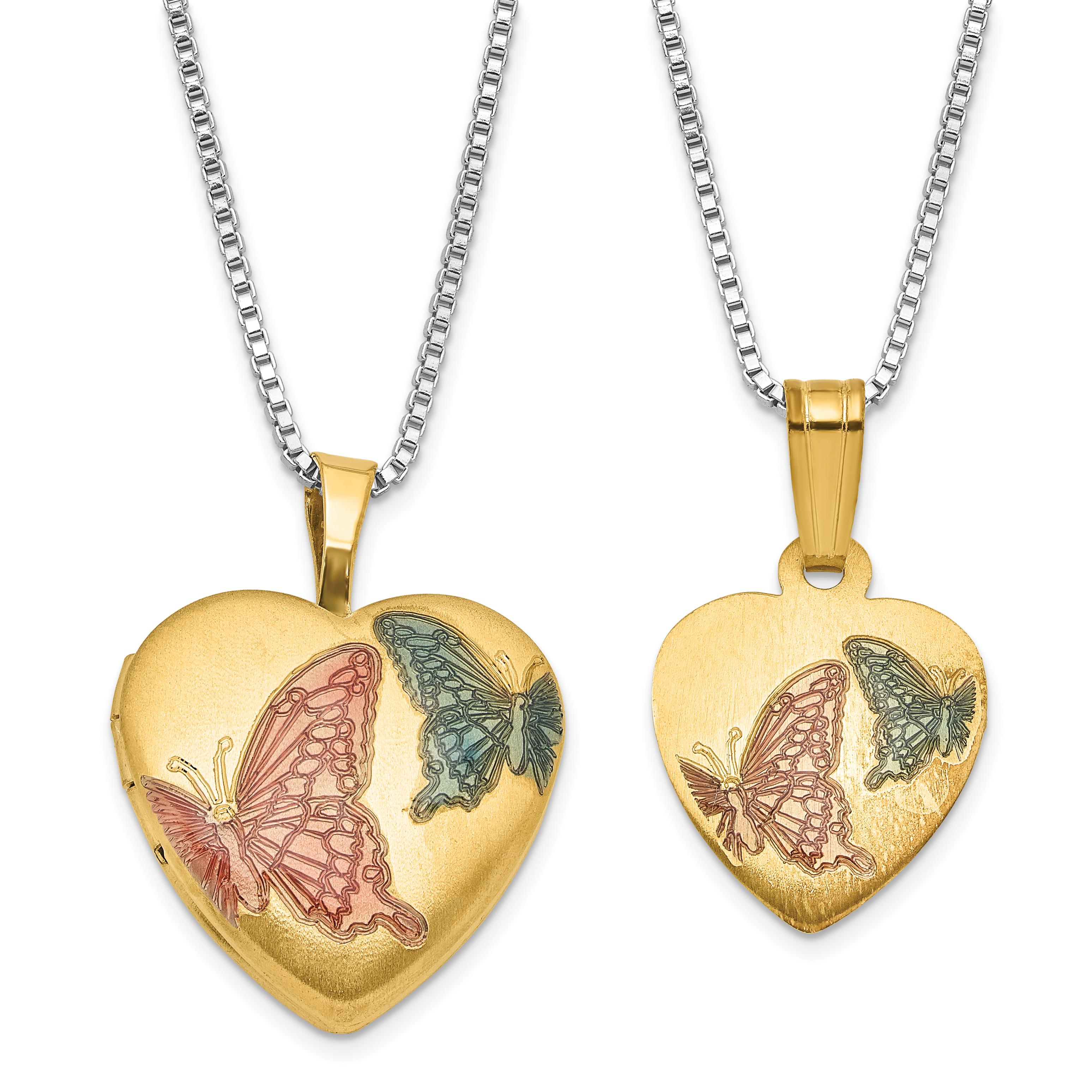 Sterling Silver Gold-plated 16mm Diamond Heart Locket//12mm Pendant
