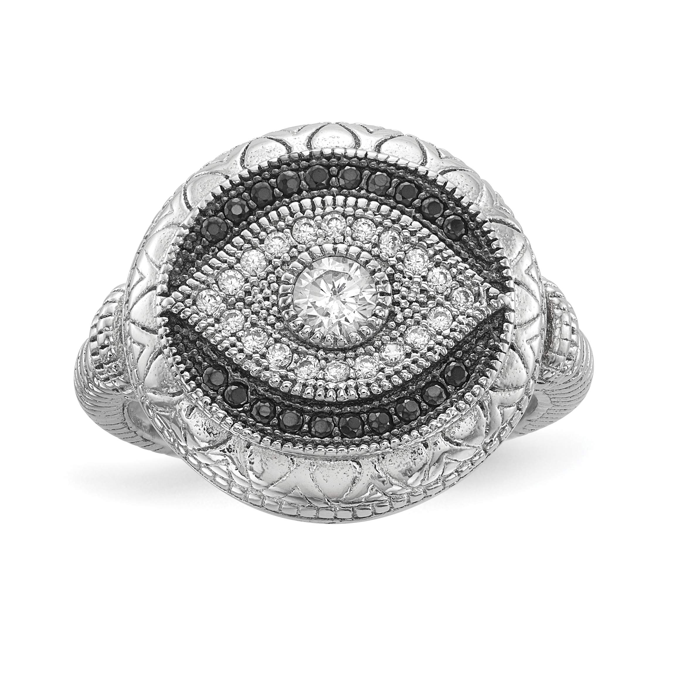 b142386e542fc Details about 925 Sterling Silver Black White Cubic Zirconia Cz Evil Eye  Band Ring Size 8.00