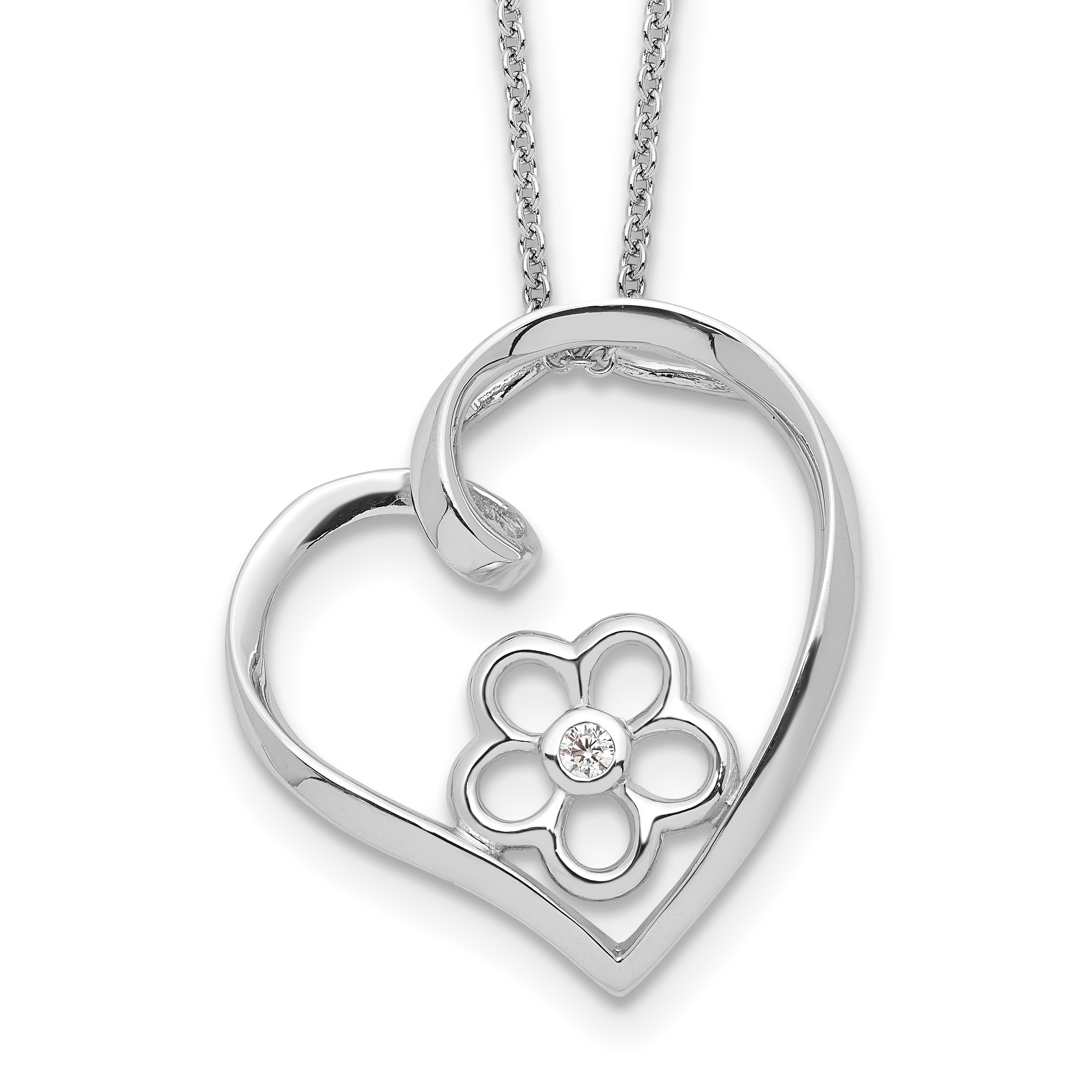 925 Sterling Silver Cubic Zirconia Cz Heart Chain Necklace Pendant Charm S//love Fine Jewelry Gifts For Women For Her