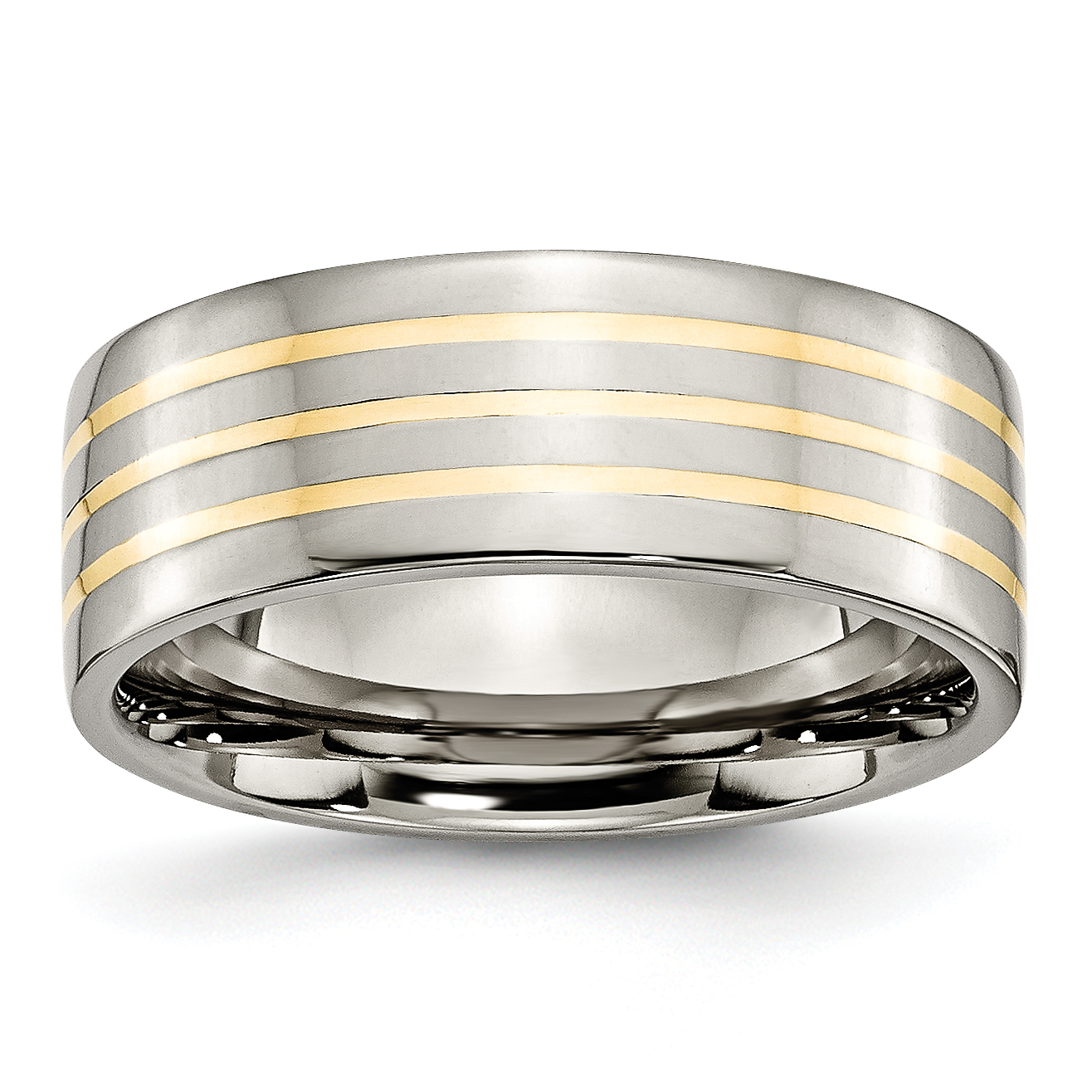 Jewelry & Watches Titanium Flat 8mm 925 Sterling Silver Inlay Brushed Wedding Ring Band Size 9.00