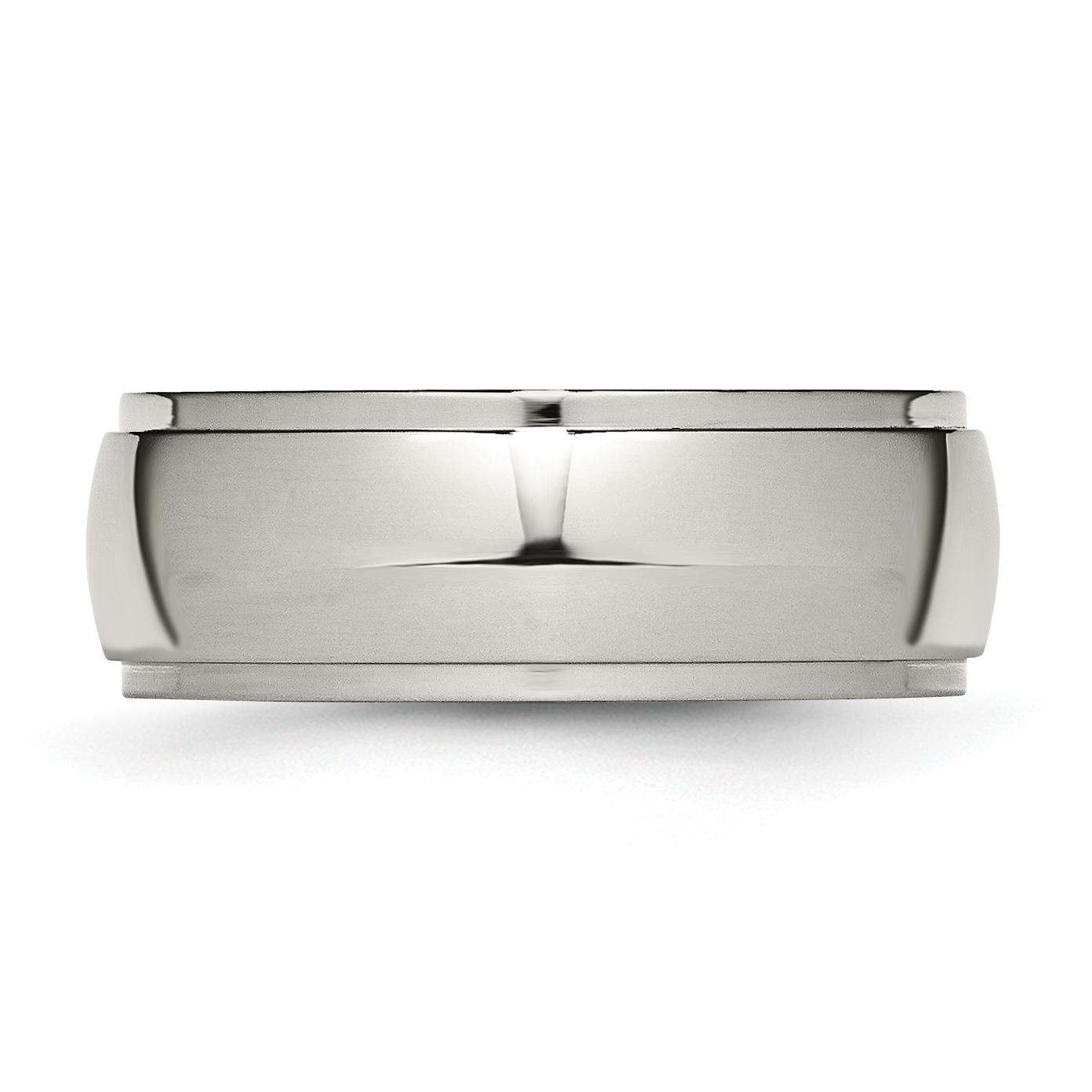 Jewelry & Watches Titanium Ridged Edge 8mm Brushed Wedding Ring Band Size 7.50 Classic Flat