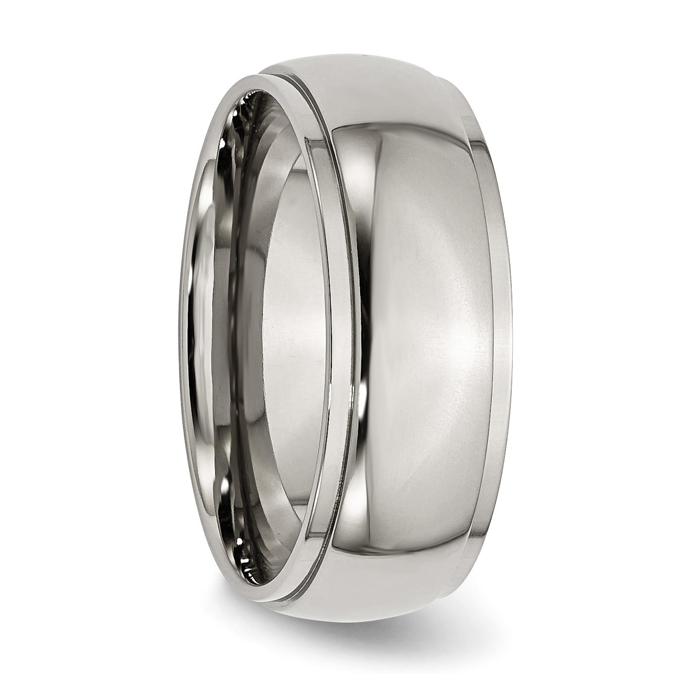 Titanium Ridged Edge 8mm Brushed Wedding Ring Band Size 7.50 Classic Flat Bridal & Wedding Party Jewelry Engagement & Wedding