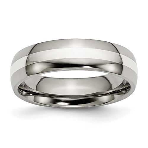 Chisel Anium Sterling Silver Inlay Polished 6mm Wedding Band