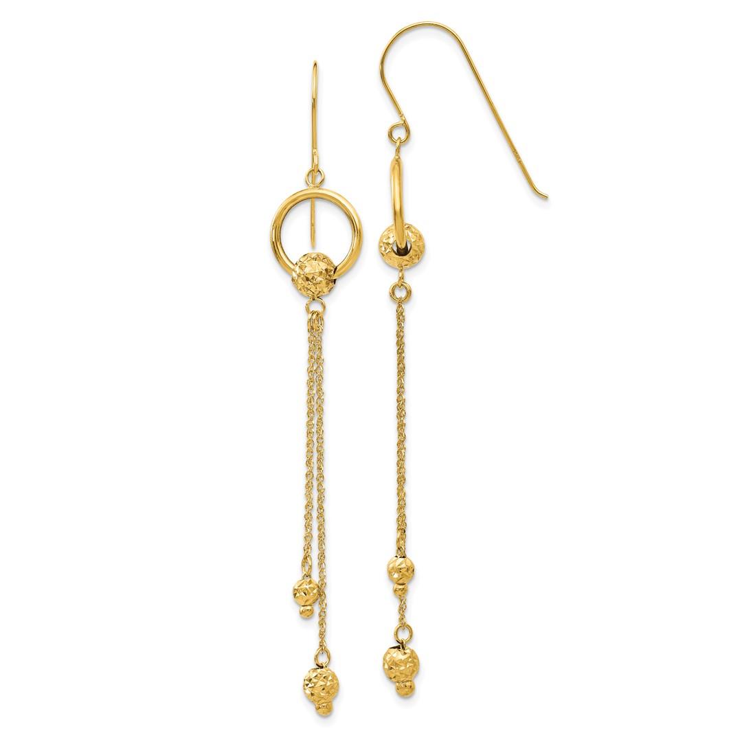 14k yellow gold drop dangle chandelier shepherd hook. Black Bedroom Furniture Sets. Home Design Ideas