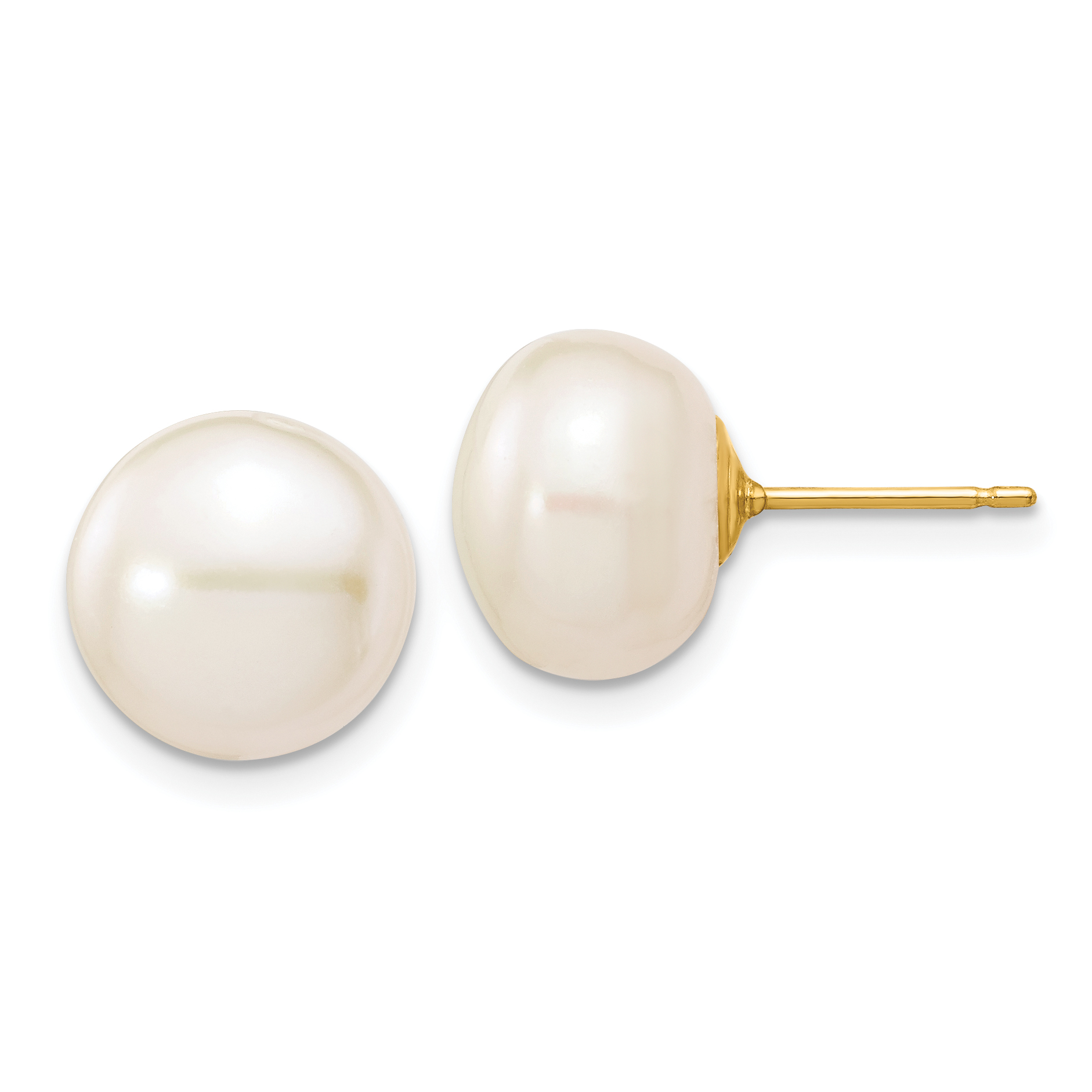 14K Gold White Freshwater Cultured Pearl Button Stud Earrings
