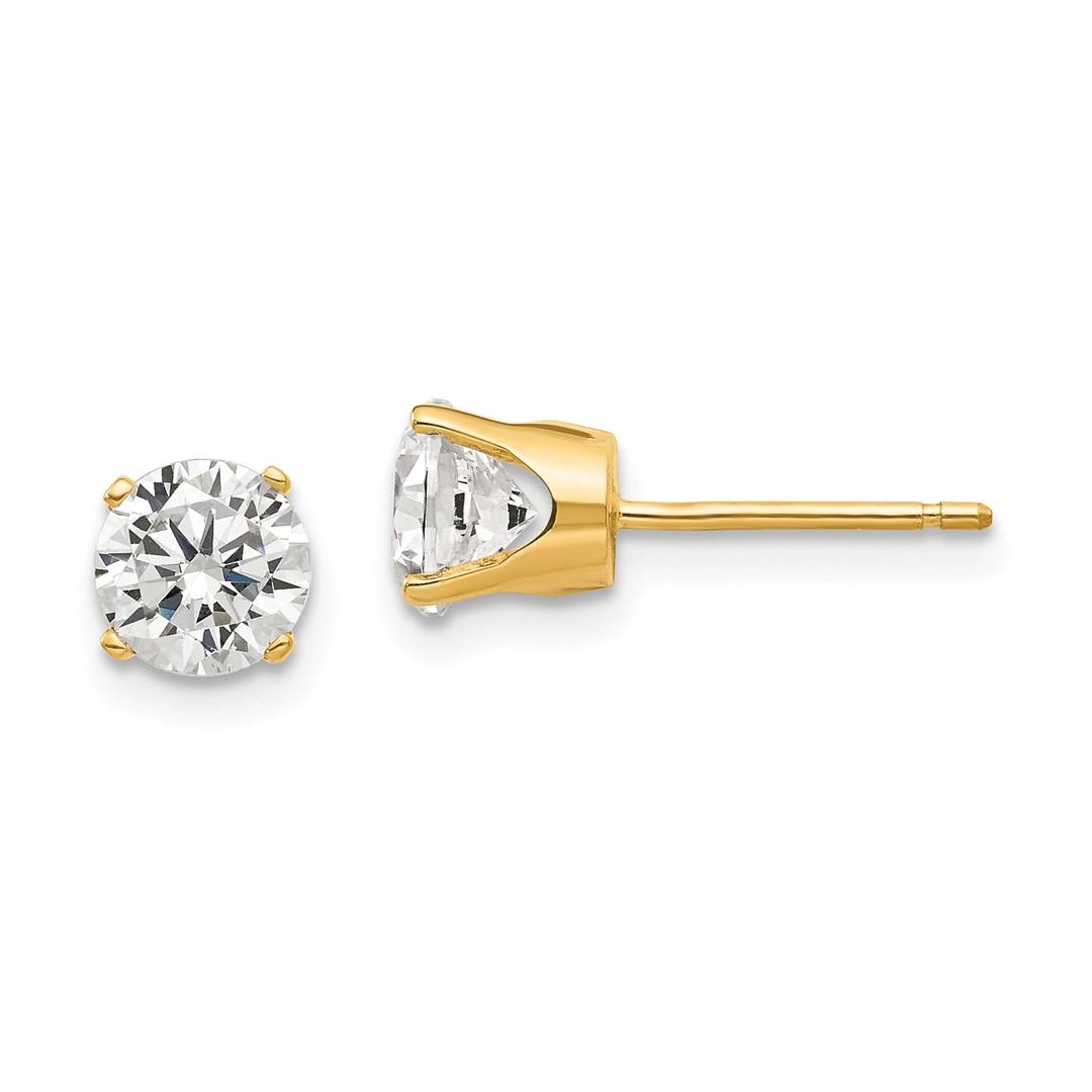 15373c7f1 14k Yellow Gold 5.5mm Cubic Zirconia Cz Stud Ball Button Earrings Gemstone  Fine